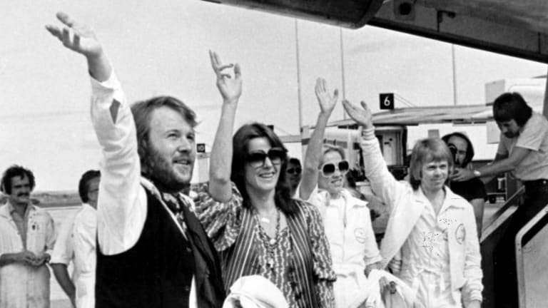 ABBA arrive at Tullamarine Airport in Melbourne in 1977, when fans regularly crowded to get a glimpse of the band.