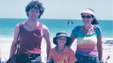 Jennie Hill (right) with her late brother Stuart and son Sam in 2003.