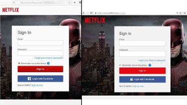 Real or fake? Netflix's log in webpage.