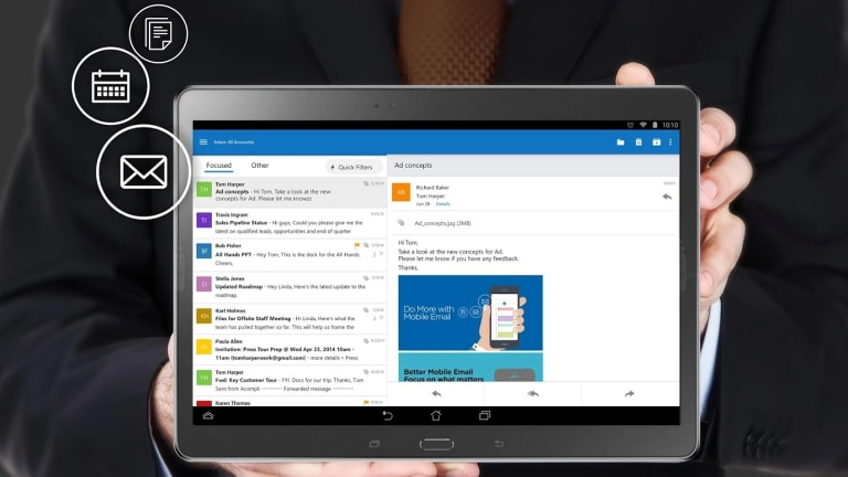 Microsoft's Outlook app for iOS and Android smartphones and tablets is a huge improvement over its previous non-Windows mobile efforts.