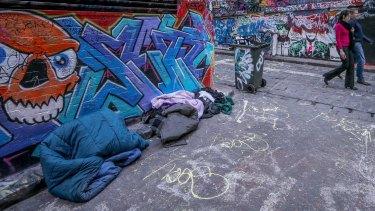 People sleeping rough in Melbourne.