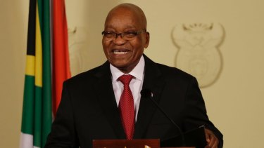 Quits: South African President Jacob Zuma addresses the nation at the government's Union Buildings in Pretoria, South Africa, on Wednesday.