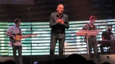 Hillsong Church pastor Brian Houston on stage in New York in 2013.