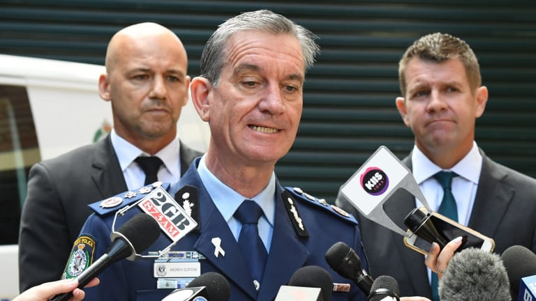 NSW Police Commissioner Andrew Scipione (centre), lead investigator Detective Chief Inspector Gary Jubelin (left) and NSW Premier Mike Baird (right) announce a $1m reward to coincide with the second anniversary of William Tyrrell's disappearance.