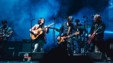 Bernard Fanning reunited with his old Powderfinger band mates for a set at Splendour.