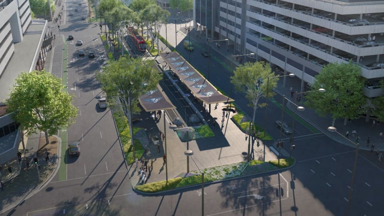 An artists' impression of the Alinga Street light rail stop from the air.