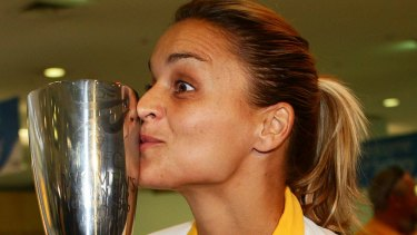 Magic Matildas: Australian captain Melissa Barbieri with the Asian Cup in 2010.