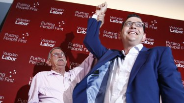 Daniel Andrews on election night in 2014 with his father Bob.