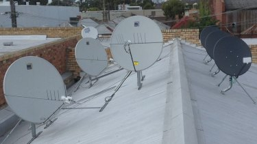 Satellite dishes on the roof of the testing facility in Brunswick.