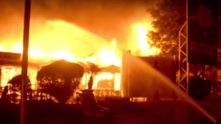 Fire destroys most of the Waltzing Matilda Centre.