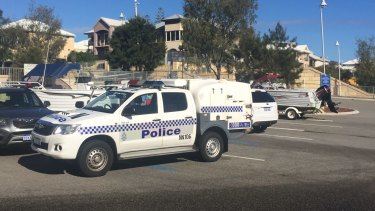 Police at the scene at Mindarie.