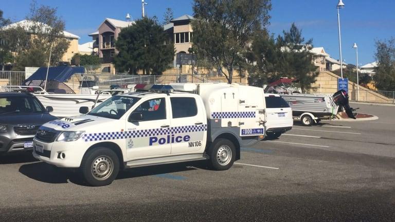 Police at the scene at Mindarie.