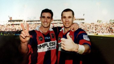 Andrew and Matthew Johns during Matthew's last home game for the Knights.