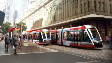 An artist's impression of the light rail line on George Street in Sydney's CBD.