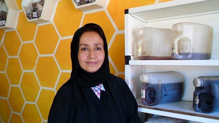 Afrah Suhail in her hexagonal store in Djibouti's capital, where she sells Yemeni and Ethiopian honey.