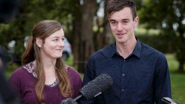 Mitchell and Ella Tromp talk to media in Silvan.