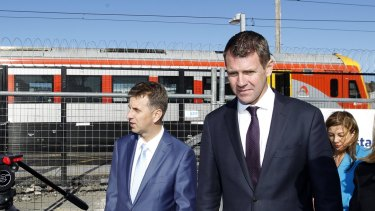 NSW Premier Mike Baird and  Transport Minister Andrew Constance after unveiling the new design for the Wickham transport interchange. Mr Constance says light rail will allow Newcastle to capitalise on an opportunity for renewal.