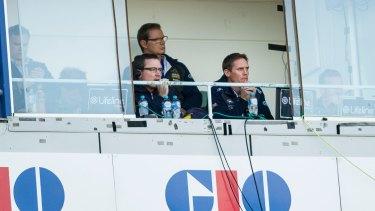 Dan McKellar and Stephen Larkham at Canberra Stadium.