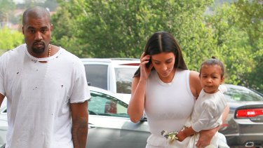 Kim Kardashian, Kanye West and North West at church for Easter in Los Angeles.