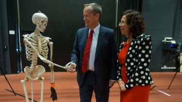 Opposition Leader Bill Shorten makes a rare joke about meeting 'Tony Abbott' during a university visit on Tuesday.