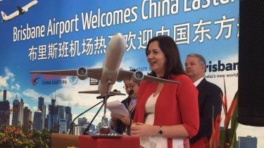Premier Annastacia Palaszczuk welcomes China Eastern Airlines' first  flights between Shanghai and Brisbane.