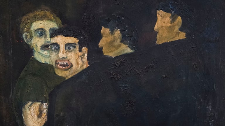 Frank Watters' <i>He's a Queer!</I> (detail): 'This was my ''coming out'' painting without actually admitting I'm gay.'