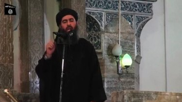 IS leader Abu Bakr al-Baghdadi at a mosque in the Iraqi city of Mosul in 2014.