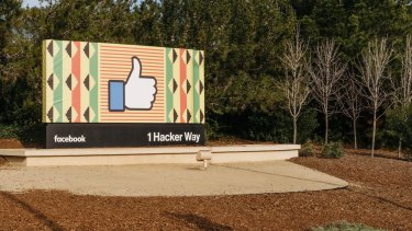 A 'like' sign near the entrance to offices for Facebook in Menlo Park, California.