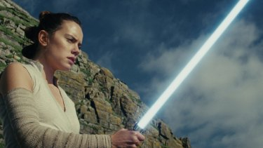 Rey, played by Daisy Ridley, trains to be a Jedi in The Last Jedi.