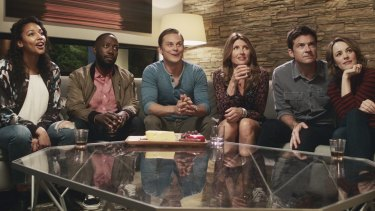 Couples gather for a night of fun: (left to right) Kylie Bunbury as Michelle, Lamorne Morris as Kevin, Billy Magnussen as Ryan, Sharon Horgan as Sarah, Bateman as Max and McAdams as Annie.