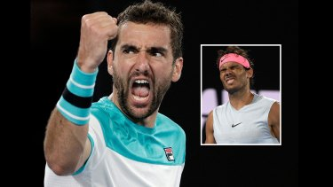 Marin Cilic advanced to the semi-finals after top seed Rafael Nadal retired hurt.