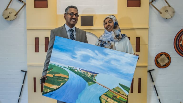 New Sudanese ambassador Dr Ibrahim Baroudi, his wife Riham Abdullah Mahmoud Elnazir, and their exhibition - the ambassador's wife made some of the art in the exhibition.