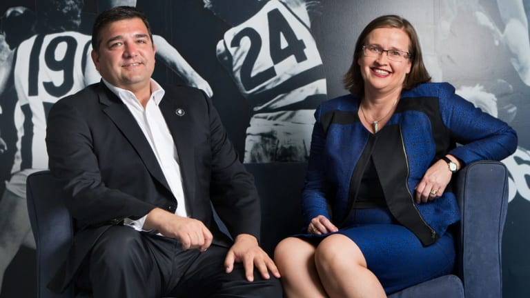 Carlton president Mark LoGiudice and club director Kate Jenkins.