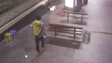 The male captured on CCTV appeared to carry a white can in his right hand.