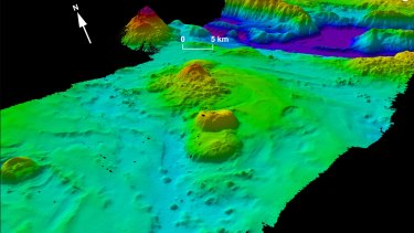 A 3D model of a section of seafloor in the MH370 search area.