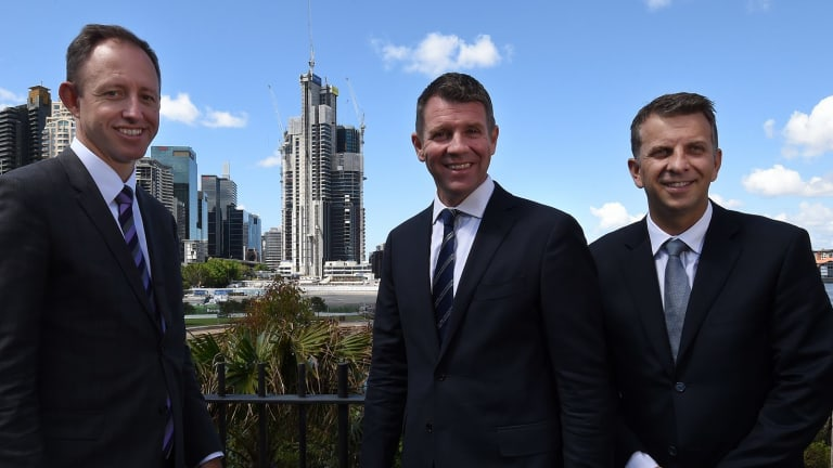 Program director of Sydney Metro Rodd Staples (left) with Premier Mike Baird  and Minister for Transport and Infrastructure Andrew Constance  moments after making a Sydney Metro announcement at Barangaroo last year.