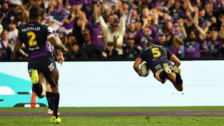 Flying high: He may not have celebrated elaborately, but Josh Addo-Carr gets horizontal for the dive for the line.