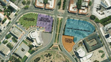 The ACT government's plan for London Circuit car parking, including the tram compound, and the new area behind the theatre car park, in orange.