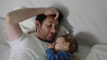 Arts programmer Murat Saglamoglu, 34, on paternity leave with Oskar.