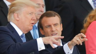 French President Emmanuel Macron, right, and US President Donald Trump in Paris in July.