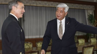 US Navy Admiral Harry B. Harris jnr, left, commander of the US Pacific Command, and Japanese Defence Minister Gen Nakatani prior to a meeting in Tokyo this month.