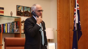 Prime Minister Malcolm Turnbull speaks to Donald Trump in November following his election victory.