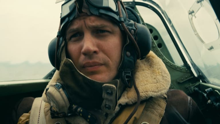 It's all in the eyes: Tom Hardy as a British war pilot.
