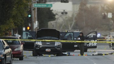 The Black SUV involved in a police shootout with suspects, that shocked a suburban neighbourhood,