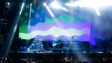 """The Avalanches at their Splendour in the Grass set in July. The band had """"probably not as much as we would have liked"""" to prepare for the show, says Tony Di Blasi."""