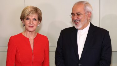 Foreign Minister Julie Bishop with Iranian Foreign Minister Dr Javad Zarif at Parliament House on March 15.