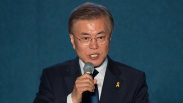 Moon Jae-in, president-elect of South Korea, delivers his victory speech.