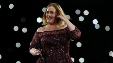 Adele on stage at the at Gabba on Saturday night.