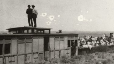 The Manchester Unity picnic train attacked by 'Turks' at Broken Hill on New Year's Day 1915. Photograph: Broken Hill City Library.