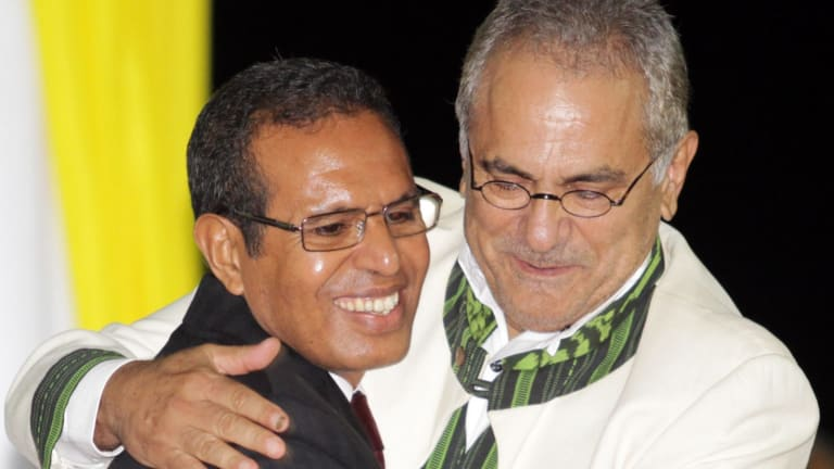 East Timorese President Taur Matan Ruak, left, embraces his predecessor Jose Ramos-Horta during his inauguration ceremony in Dili, East Timor, in 2012.